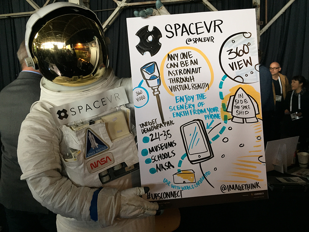 An astronaut holds an ImageThink pitch board created on site for attendees at the tech crunch event held in san francisco. The board illustrates SpaceVR business ideas.